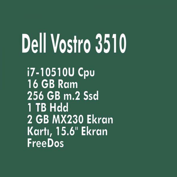 """Dell Vostro 3510 i7-10510U Cpu, 16 GB Ram, 256 GB m.2 Ssd + 1 TB Hdd, 2 GB MX230 Ekran Kartı, 15.6"""" Ekran, FreeDos"""